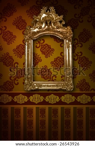 antique carved frame on the wall in the interior