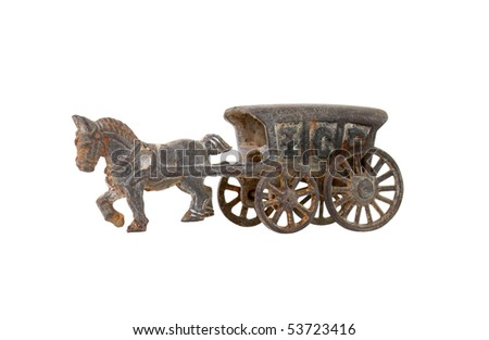 Antique Cast Iron Horse & Ice Truck Carriage
