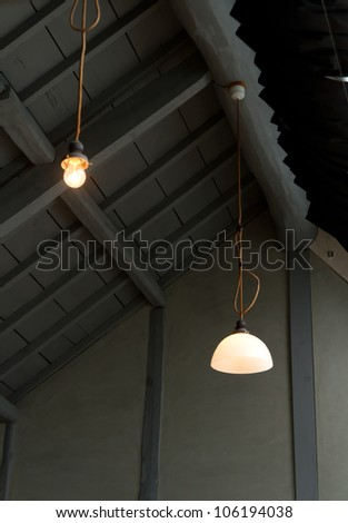 antique ceiling lamps in modern Japanese architecture
