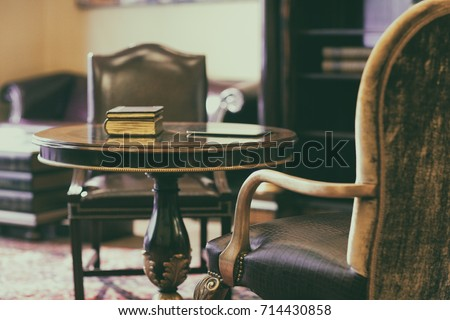antique chair on the carpet