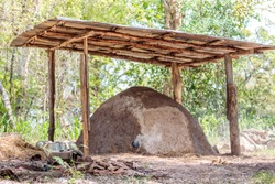 Antique charcoal kiln  Made from clay, used for burning charcoal from wood.Background is blurred of green trees.