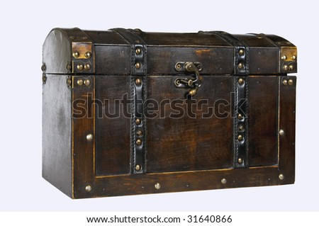 antique chest on white background