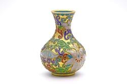 Antique Chinese Cloisonne enamel vase isolated on white background