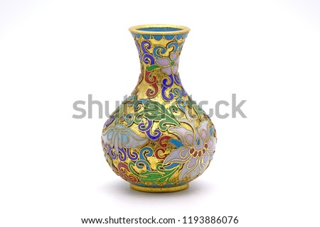 Antique Chinese Cloisonne enamel vase isolated on white background #1193886076