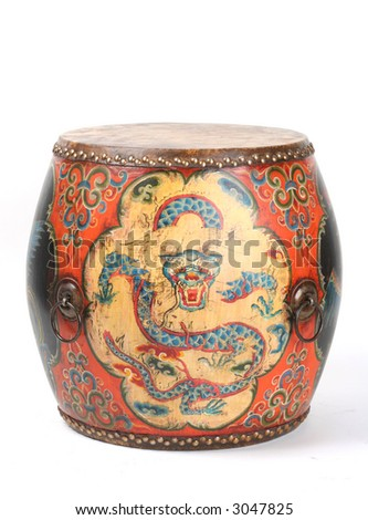 Antique Chinese drum with a hand painted red and blue dragon