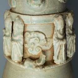 Antique Chinese Late Song to Yuan Dynasty Qingbai Glazed Funerary Urn