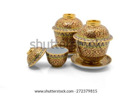 Antique Chinese tea bowl set,  isolated on white background