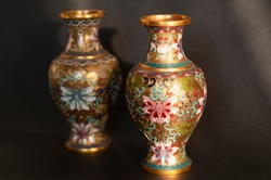 Antique Chinese vase on dark background. Two handmade Asian vases standing on desk. Concept of antiquity, ancient cultures, arts, Asian or Chinese heritage.