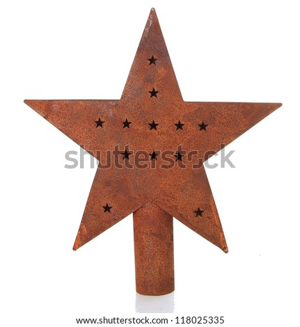 Antique Christmas star isolated on white.