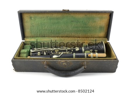 Antique Clarinet and Case Isolated on White Background