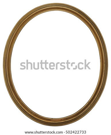 Antique Classic Oval Golden thin Frame, isolated on white background. High Resolution and High Quality for print. #502422733
