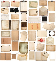 antique clipboard and photo corner, aged paper sheets, books, pages and old postcards isolated on white background. vintage photo frames