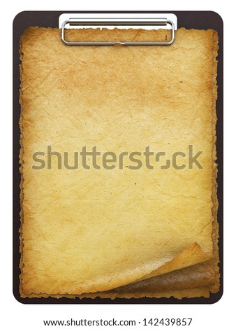antique clipboard with blank paper. isolated on white.