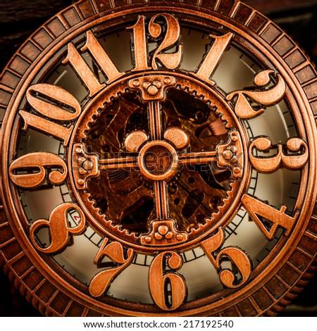 Antique clock dial close-up. Vintage pocket watch.