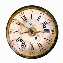 Antique clock face of the ancient watch.