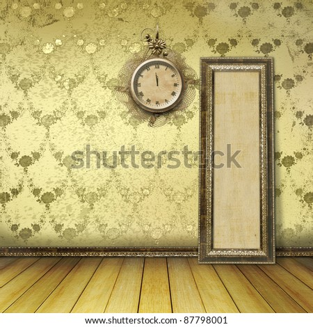 Antique clock face with lace on the wall in the room
