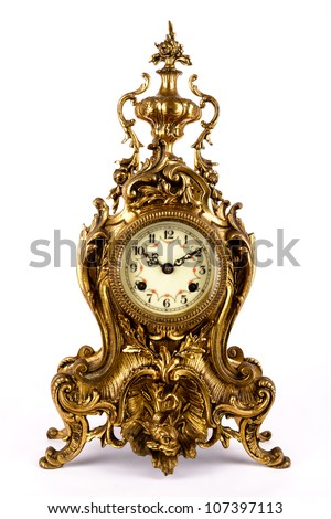 Antique clock isolated on white background.