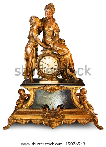 Antique clock with figurines of cupids and women isolated on white background. Clipping path included to easy remove object shadow or replace background.
