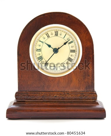 Antique Clock with Roman Numerals - stock photo