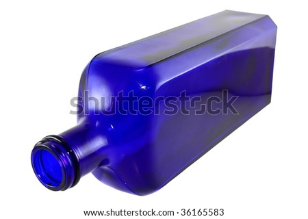 Antique cobalt blue bottled isolated