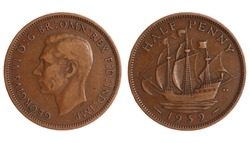 antique coin of great britain, half penny of 1939 year