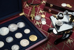 Antique coins and medals .Bonistics and numismatics collection.Magnifying glass, microscope.Russian Empire and world old money.Silver,gold.Vintage style