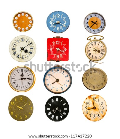 antique colorful clock dial collection isolated on white