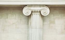 Antique column in doric style closeup