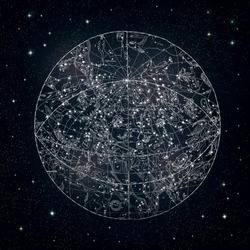 Antique constellations sky chart 1850