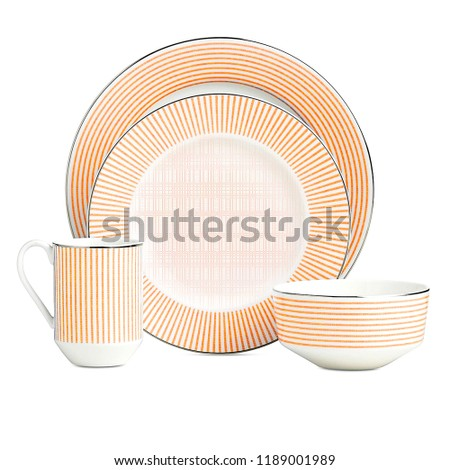 Antique cookware set, beige tone dishware set isolated on white background. Interior element