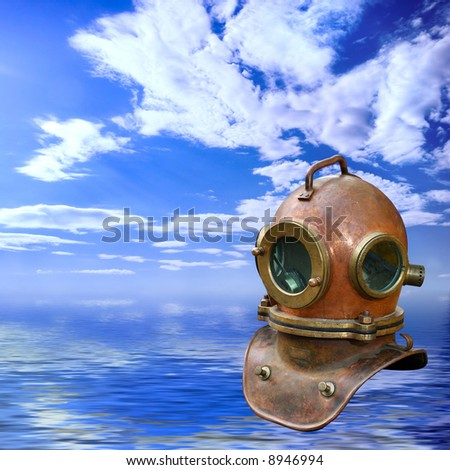 Antique copper diving helmet over blue sea water summer background Recreational concept