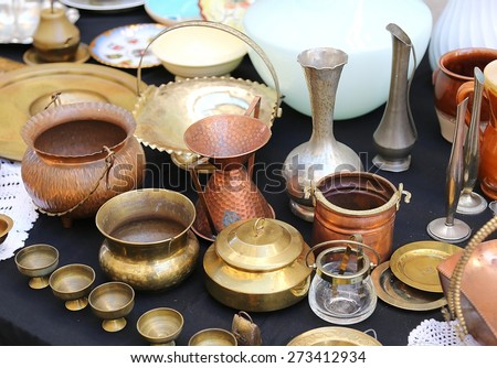 antique copper pots precious and vintage furnishings for sale in the antique shop