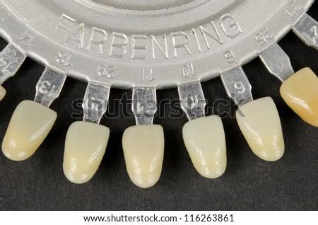 antique dental color samples closeup