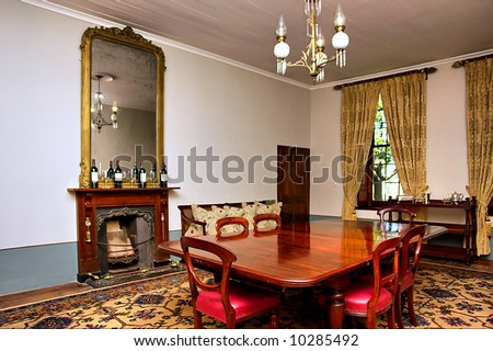 Antique Dining Room With Big Table And Chairs Shot In A Wine Farm Between Stellenbosch