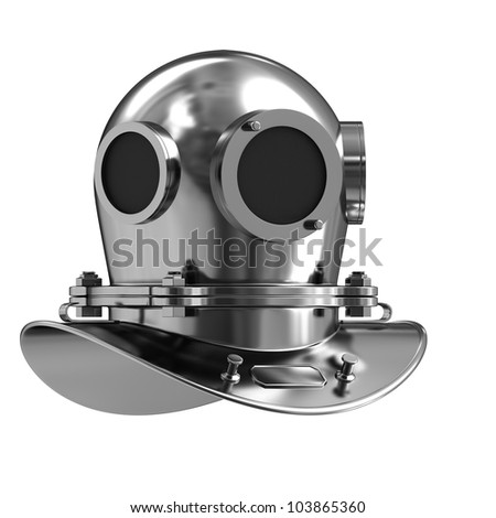 Antique divers helmet Isolated on white background