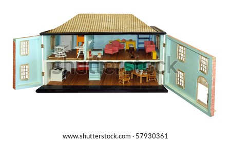Antique Dollhouse with Doors Open isolated with clipping path
