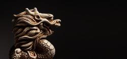 Antique Dragon on black background