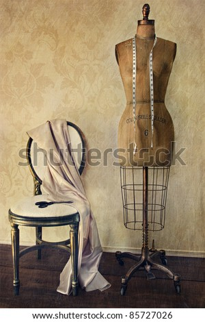 antique dress form and chair...
