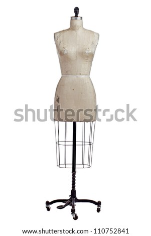 Antique dressmakers form with beige linen fabric cover and black wrought iron stand on casters. Front view, vertical, isolated on white, copy space.