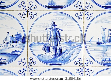 antique dutch delft blue & white tile dating circa eightteenhundred