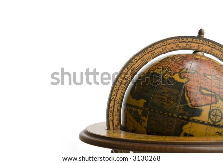 Antique earth globe isolated on white