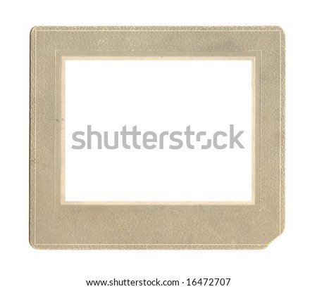 Antique embossed paper frame with unusual pattern and worn edge.