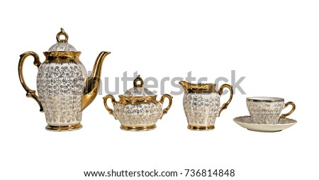 antique english golden tea set...