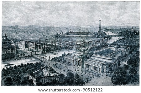 antique engraving Above of International Exhibition in Paris, 1900 - an illustration of the encyclopedia publishers Education, St. Petersburg, Russian Empire, 1896