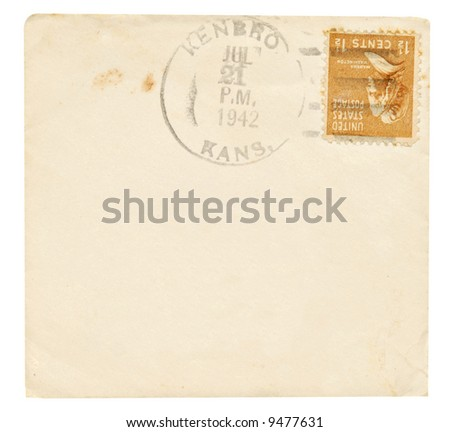 Antique envelope and letter with postmark and stamp.