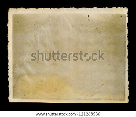 Antique faded blank grunge photo with jagged white border background texture.