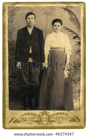 Antique family photo of long ago passed away relatives - circa 1895 Russia.