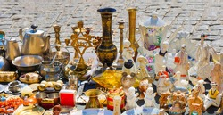 Antique Flea market Kiev, Ukraine. Selling and buying antiques items and collectables porcelain. Items vintage market banner. Antiques market selling vintage objects brocante. Bazaar antiques souvenir.