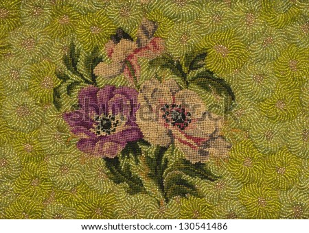 Antique flowers embroidery background