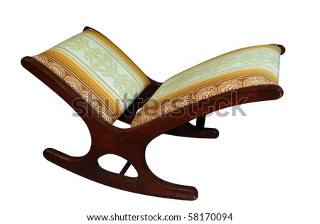Antique Footstool isolated with clipping path - stock photo